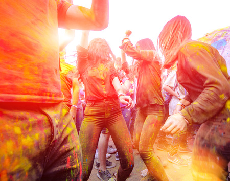 Girls are dancing on Holi celebration 9 September 2017 Moldova Chisinau Darwin Color Fest
