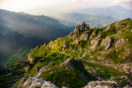 Panorama of the rocks. Mountains Bucegi, Romania. Summer day. Archivio Fotografico