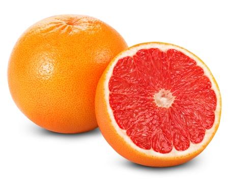 toronja: Pomelo con sectores aislados sobre fondo blanco