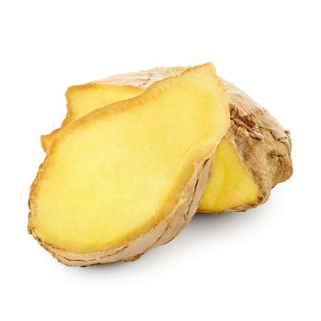 Fresh ginger slices isolated on white background