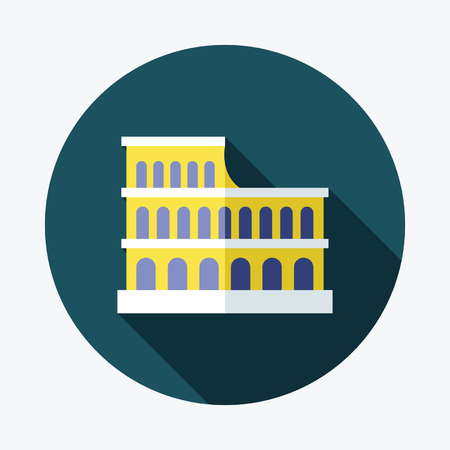 amphitheatre: Colosseum flat Icon with Long Shadow Illustration