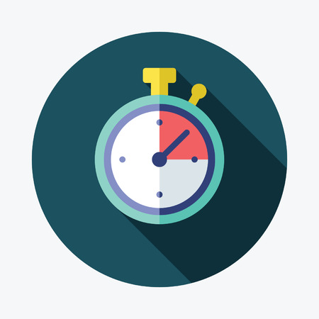 stopwatch: Stopwatch flat Icon with Long Shadow