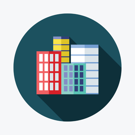 Real estate icon and element Flat Icon with Long Shadow
