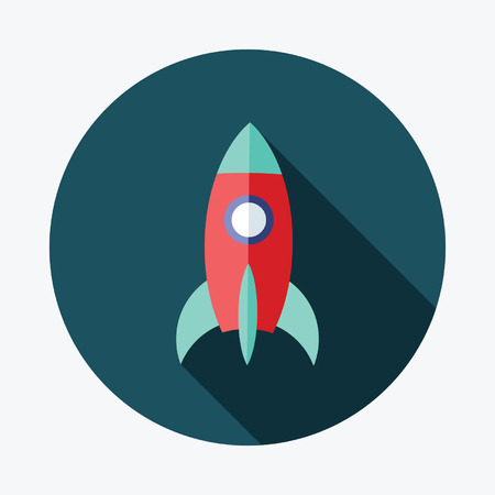 Flat style with long shadows, rocket vector icon illustration. Vector
