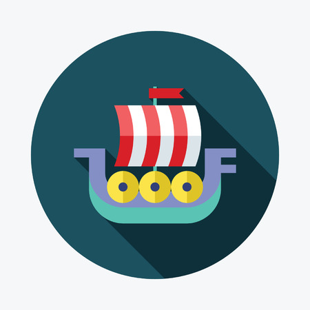 galley: Viking ship flat Icon with Long Shadow