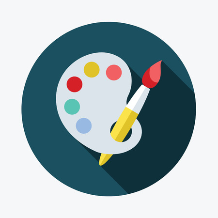paint palette: Art palette with paint brush flat icon with long shadow