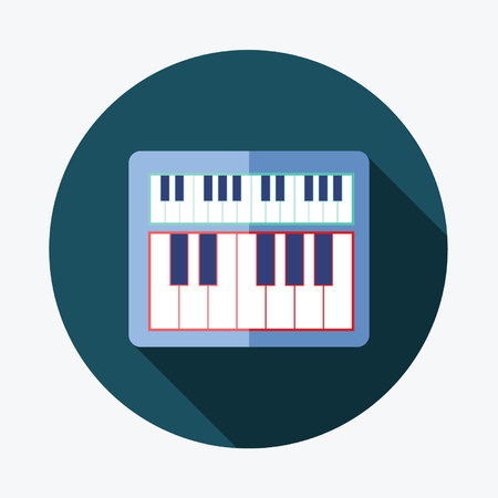 ebony: piano flat icon with long shadow