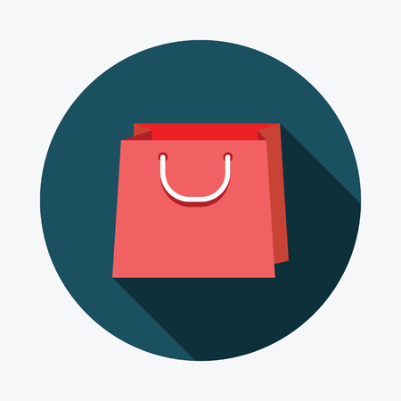 cash box: Flat shopping bags icon with Long Shadow