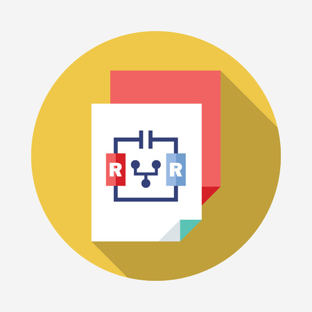 repulsive: physics flat Icon with Long Shadow Illustration