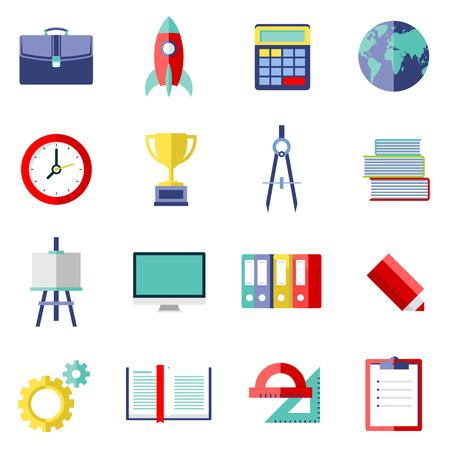 school bag: School icon set. Vector Illustration