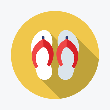 beach slippers: Beach slippers. Single flat icon on the circle. Vector illustration.