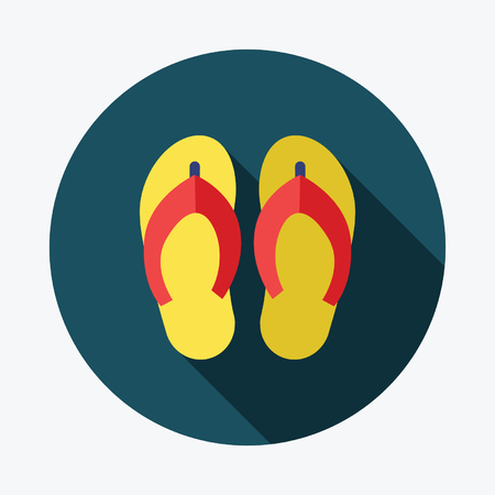 flipflop: Beach slippers. Single flat icon on the circle. Vector illustration.