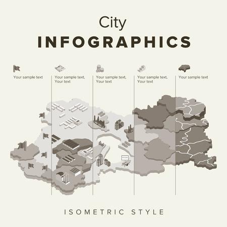 infomation: Set of isometric city social infographics, City of info graphics Graphics, illustrator Vector Illustration