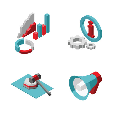 Flat Set Isometric Icons Vector