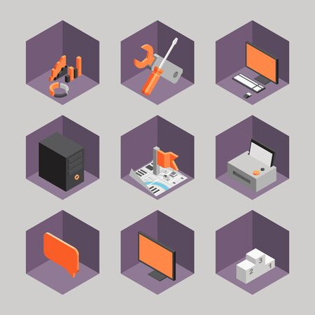 set 3d Isometric office objects Vector