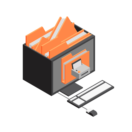 3d vector Isometric office objects Vector