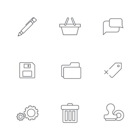 Simple line shopping icons for web and mobile Vector
