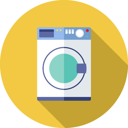 washer: Flat washer icons with Long Shadow Illustration