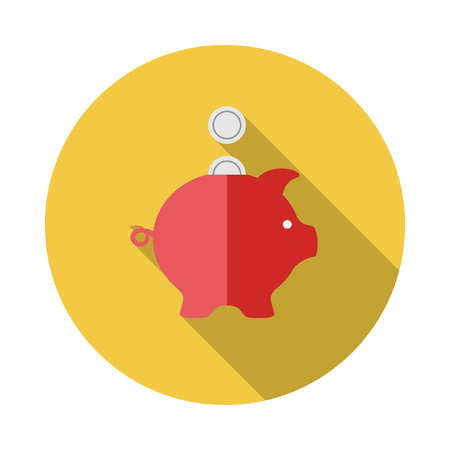 piggy: Piggy bank with coins. Flat design with Long Shadow.