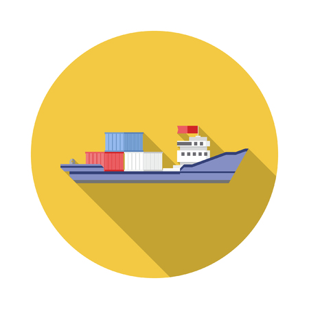 bulk carrier: Tanker cargo ship icon with containers. Flat design with Long Shadow. Illustration