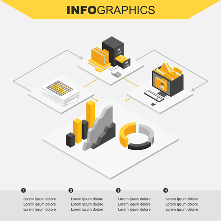 analytic: Isometric design. File archive documents and analytic info graphic.