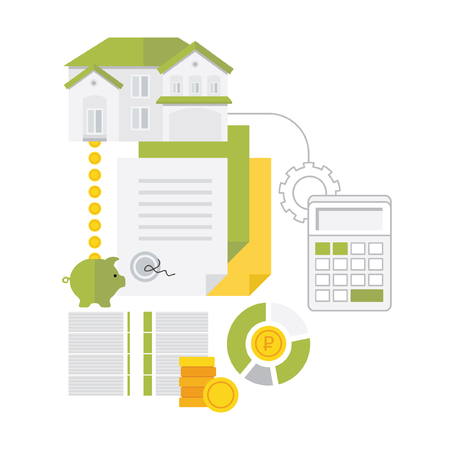 buying real estate: Real estate, house mortgage, loan, buying icons. Flat style icons isolated on white background.