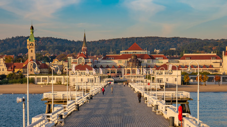 The Sopot Pier in the city of Sopot. The pier is the longest wooden pier in Europe. Beautiful sunrise. Zdjęcie Seryjne