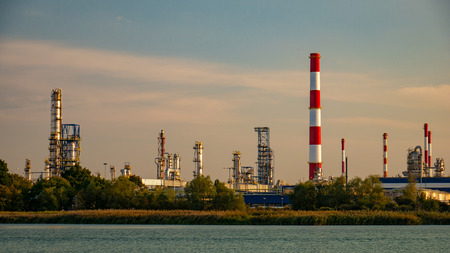 River and oil refinery factory in Gdansk, Poland.