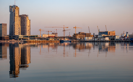 View of port area in Gdynia at Baltic Sea in Poland. Morning time.