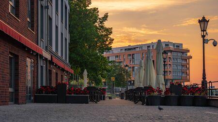 Romantic outdoor restaurant in Gdansk, Poland. Stock Photo