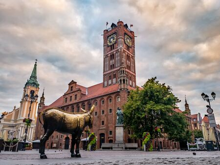 Torun, Poland. 17 July 2019. Medieval Town Hall in the Old Town of Torun with the monument of astronomer Nicolaus Copernicus and and golden donkey.