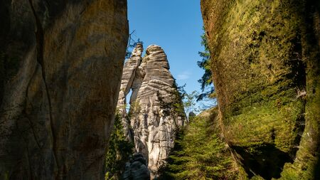 The lovers in rock town of Adrspach. Adrspach National Park in northeastern Bohemia, Czech Republic, Europe.
