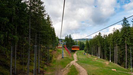 Summertime in the mountains where the ski lift allows for beautiful views. Karpacz, Kopa, Poland. Stok Fotoğraf
