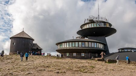 A meteorological observatory at Schneekoppe mountain - Sniezka. Giant Mountains, National Park, Poland and Czech Republic