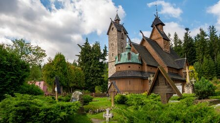 Norwegian wooden temple Wang in Karpacz, Poland.