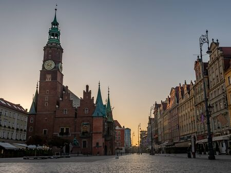 Market square in old town of Wroclaw with Town Hall, Poland