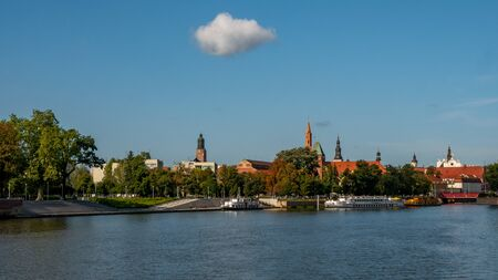 Wroclaw, Poland. Panorama of Old Town. Odra or Oder river with boats. Stok Fotoğraf