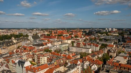 Scenic summer aerial panorama of the Old Town architecture in Wroclaw, Poland Stok Fotoğraf