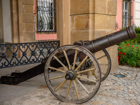 Old canon artillery displayed next to Castle Ksiaz.