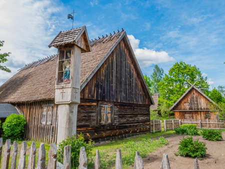 Old houses in Kashubian Ethnographic Park in Wdzydze Kiszewskie. Poland.