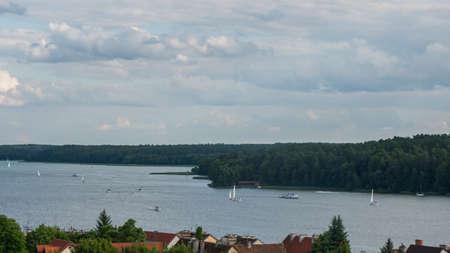 Summer view on Mikolajki and Mikolajskie lake.