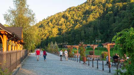 Szczawnica, Poland. 09/12/2020. Promenade in Szczawnica town in summer, Pieniny, Poland Редакционное