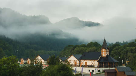 Scenic view of Szczawnica village, southern Poland. Summer in Pieniny Mountains. Фото со стока
