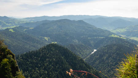 Summer view from the top of the Pieniny mountains to the river Dunajec gorge, Poland