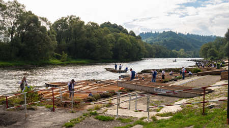 Pieniny, Poland. 09/11/2020. The place of departure of the rafts in Dunajec, Pieniny.