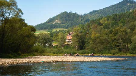 Traditional rafting on the Dunajec Gorge, Pieniny, Poland,