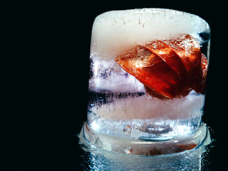 abstract closeup of an ice composition resembling an exotic alcoholic cocktail