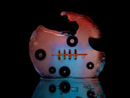 an ice block with gears frozen in it and a counter that shows the onset of the new 2021