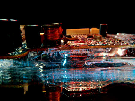 ice and electrical circuit illuminated in the dark like city lights in creative and abstract photography Stock fotó
