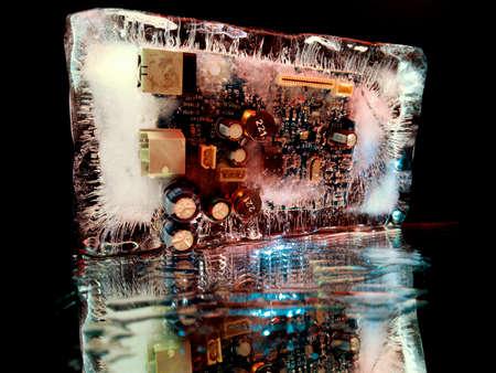 creative macro photography of an electrical circuit board glowing in the dark like a night city